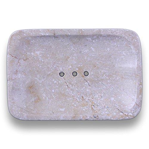 ART-CRAFT Seifenschale aus Natur-Marmor Quadratisch mit Ablaufrinne - verlängert hygienisch die Lebensdauer ihrer Seife