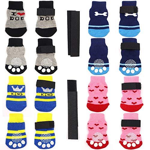 4 pares de calcetines antideslizantes para gatos y perros con refuerzo de goma y 8 correas pequeñas, cubiertas de garras para mascotas en pisos de madera (Style3, S)