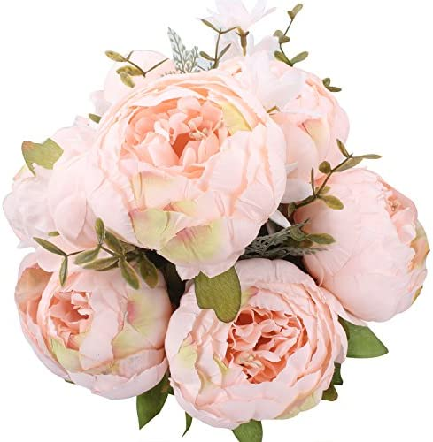 Duovlo Fake Flowers Vintage Artificial Peony Silk Flowers Wedding Home Decoration,Pack of 1 (Light Pink)