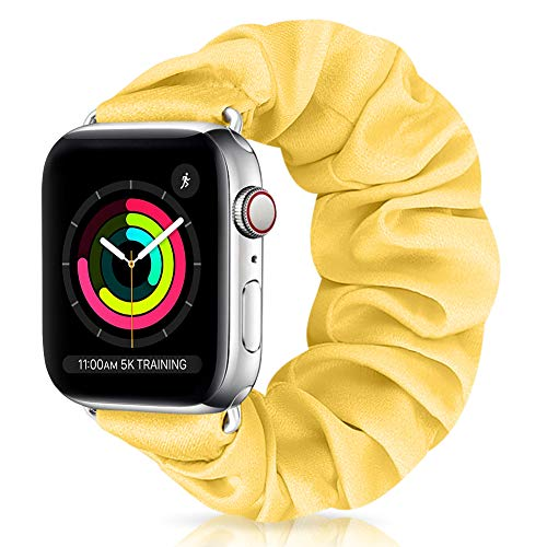 XFYELE Scrunchie Elastic Watch Band Compatible with Apple Watch Band 38mm 40mm, Comfortable and Soft Printed Fabric Wristbands Replacement for iWatch Series 6/5/4/3/2/1 (Color-W, 38mm/40mm Medium)