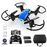 RC Drone with Camera for Adults, Wifi FPV Drone 720P HD for Kids 12-14 Hobby RC Quadcopter with Intelligent Obstacle Avoidance, 3D Flip, Headless Modes, Two Batteries, Blue