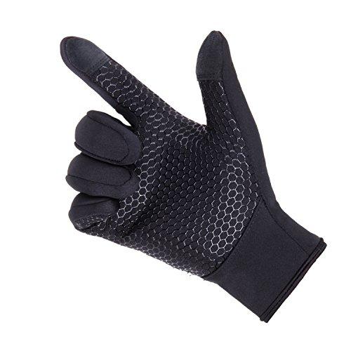 UPhitnis Herbst Winter Fahrradhandschuhe für Herren Damen - Outdoor Winddicht Touchscreen Handschuhe - Winterhandschuhe für Lauf Radfahren Jagd Sports - 3