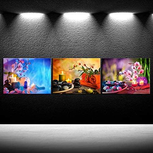 iKNOW FOTO Canvas Prints Wall Art Relaxing Spa with Zen Stones Burning Candles and Fresh Bamboo product image