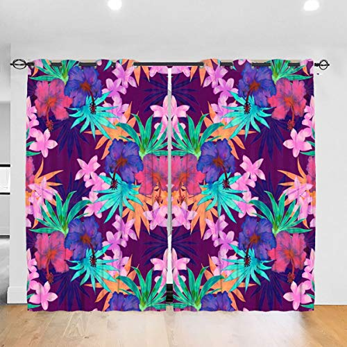 Heidi Tropical Floral Purple Blackout Curtains Thermal Insulated Grommet Curtains for Living Room and Bedroom 2 Panels 52 x 84 in One Size Punch