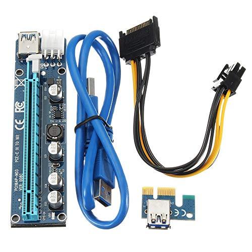 CuteLife Tarjeta PCI PCI-E 1x USB3.0 expreso to16x Tarjeta Vertical Extender Adaptador SATA Cable de alimentación (Color : Azul, tamaño : Un tamaño)