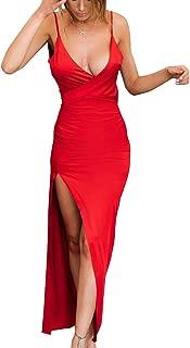 Women's Sexy Spaghetti Strap V Neck High Slit Backless Party Wrap Maxi Dress