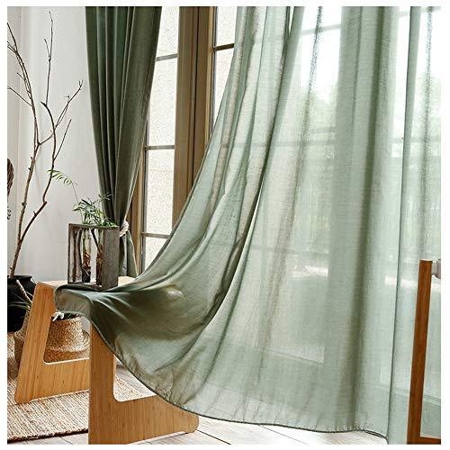 CYHOME Neue 1er-Pack Gardine, weiß Baumwolle und Leinen Vorhang aus hochwertigem Oberstoff Fensterschal Dekoschal für Wohnzimmer Kinderzimmer Schlafzimmer (Grün, 140 W*245 H cm)