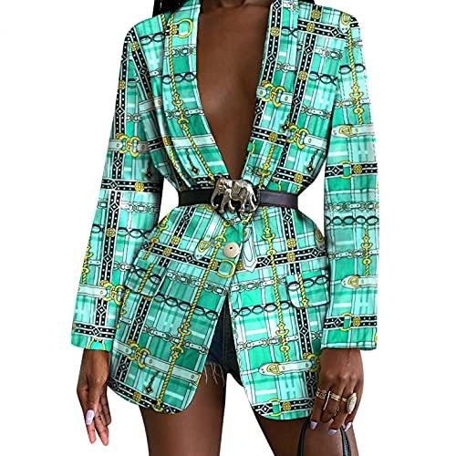 Burband Womens Paisley Floral Print Blazers Open Front Long Sleeve Lightweight Office Work Suit Jackets Boyfriend Blazers Green