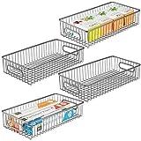 mDesign Juego de 4 cestos de alambre de metal – Versátil cesta de metal para...