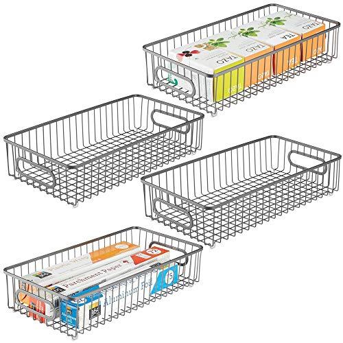 mDesign Juego de 4 cestos de alambre de metal – Versátil cesta de metal para cocina, despensa y otras habitaciones – Organizadores de cocina alargados y universales con asas – gris