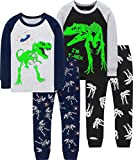 Boys Glow in The Dark Dinosaurs Pajamas Children Christmas Pjs Toddler Kids Skeleton Sleepwear Size 3