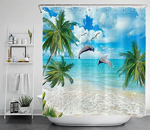 LB Türkisfarbener Ozean Duschvorhang Antischimmel Wasserdicht Badezimmer Gardinen Delphin & Strand 180x180cm Polyester Bad Vorhang mit Haken
