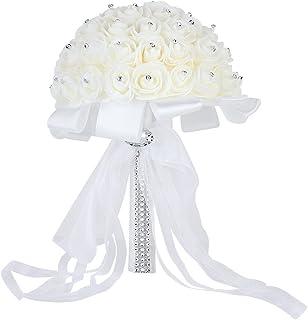 Febou Wedding Bridal Bouquet, Handmade Crystal Ribbon Rhinestone Wedding Bridesmaid Bouquet, Bridal Artificial Flowers for Wedding (White-Crystal Small Size)