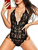Lace Bodysuit for Women Sexy Eyelash Teddy Valentine's Day Lingerie Naughty Negligee Bodysuit (Small, Black)