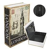 KYODOLED Diversion Book Safe with Combination Lock, Safe Secret Hidden Metal Lock Box,Money Hiding Box,Collection Box,9.5' x 6.2' x 2 .2',London