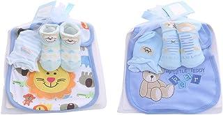 Bebé recién nacido Calcetines suaves antideslizantes de dibujos animados Guantes de algodón antiarañazos para bebés con baberos