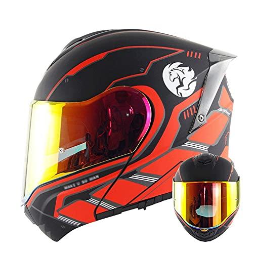 Casco Modular para Motocicleta Casco Integral Dot/ECE Homologado Cascos Moto integrales para Mujer Hombre Adultos con Doble Visera (Color : Black Red B, Size : M/Medium 55-56cm)