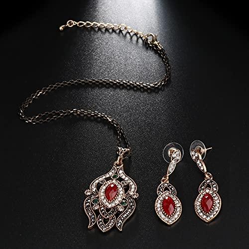 YUANBOO Collar Colgante de Gota y Pendiente para Mujeres Antique Color Gold Color Rhinestone Accesorios de Boda Turquía Juego de joyería (Length : 53CM, Metal Color : Red)