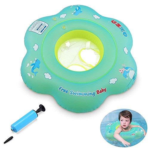 GEYUEYA Home Kinder Kleinkind Schwimmender Schwimmen Ring mit Pumpe Aufblasbarer Baby Schwimmring Baby Schwimmhilfe Schwimmsitz für 0-3 Jahre altes Baby ( Blau )