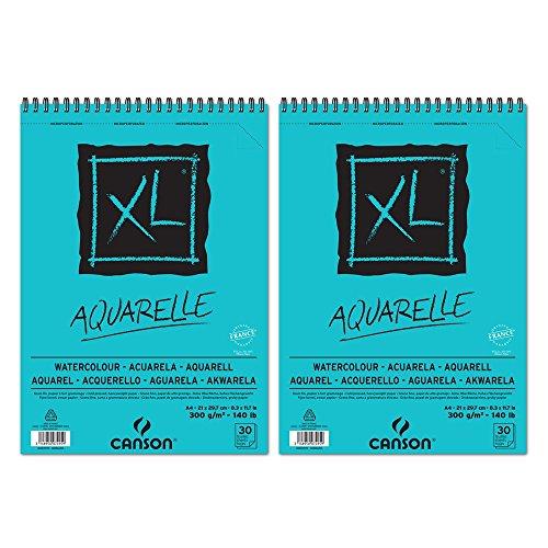 Canson XL Aquarelle Cuaderno de papel para dibujo, con espiral superior, 30hojas, grano fino, 300g, A4,color blanco–Lote de 2