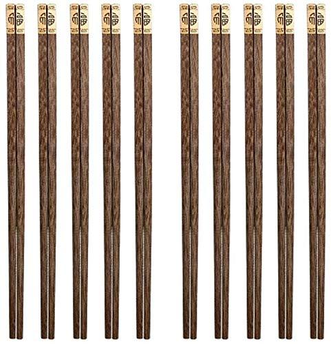 WANGQW Chopstick Reutilizable Set Lavavajillas-Caja fuert Palillos de Palillos sin Pintar Antideslizantes Antideslizantes Antideslizantes, 10 Pares, Juegos de Palillos de 25 cm de Largo