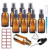 XIAQIU 8 pcs Spray de Vidrio 30ml ámbar Botella de Vidrio ámbar Vacía con Pulverizador Negro de...