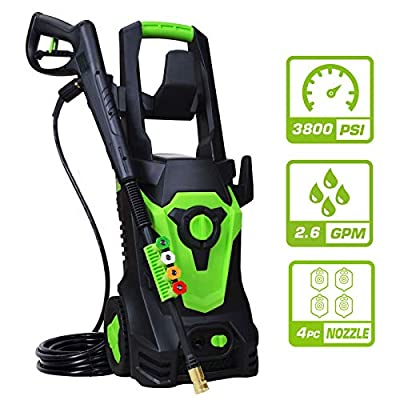 PowRyte Elite Electric Pressure Washer, Electric Power Washer with 4 Interchangeable Spray Tips,Cold Water Washer with Total Stop System: 3800PSI 2.6GPM