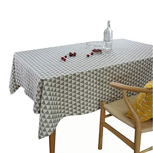MJK Manteles para el hogar, Arte de lino y algodón para el hogar Geometría rectangular Mesa de centro pequeña y fresca Toalla de mesa Mantel,gris,100 × 140