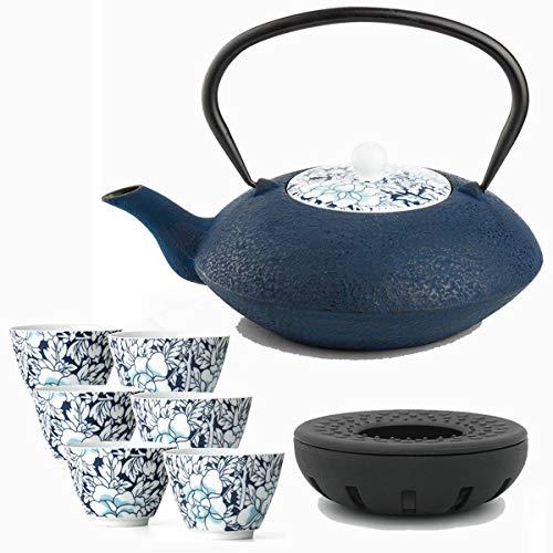Bredemeijer Teekanne asiatisch Gusseisen Set blau 1,2 Liter mit Tee-Filter-Sieb und gusseisernen Stövchen inkl. 6 blauen Teebecher Porzellan