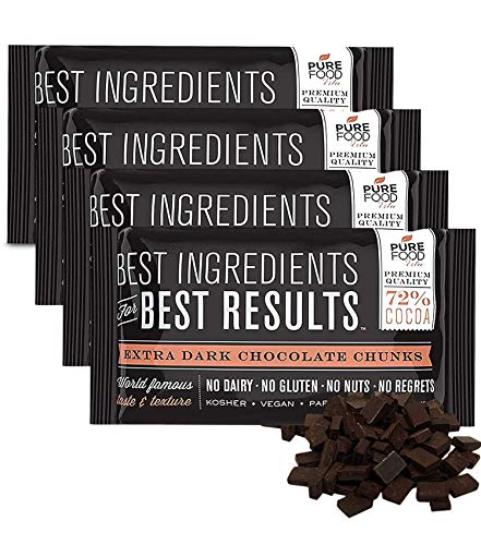 Barry Callebaut, Chocolate Chunks - Dark Chocolate Chunks for Baking, Certified Kosher, Gluten-Free, Dairy-Free, Nut-Free - Vegan, 7 oz bag, 4 Packs