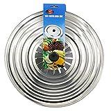 Tapa multiuso para ollas y sartenes, de acero inoxidable. 36 cm. Circulos para el vapor.