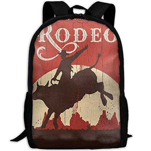 New Student Backpack, School Backpack for Laptop,Most Durable Lightweight Cute Travel Water Resistant School Backpack - Cowboy Riding Bull Wooden