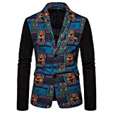 Mens Thin Casual Vintage Ethnic Pattern Printed Floral Suit Slim Fit Blazer Jacket Blue