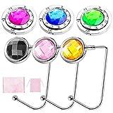 Icnow 6 ganchos para bolso de mesa o escritorio, para colgar bolso plegable antideslizante, soporte de cristal para bolso portátil bajo el banco para mujer niña regalo (6 colores diferentes)