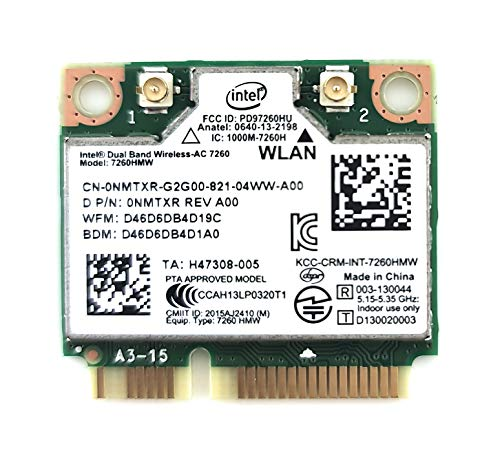Intel 7260.HMW Dual Band Wireless-AC 7260 Network Adapter PCI Express Half Mini Card 802.11 b/a/g/n/ac