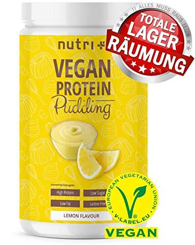 Nutri-Plus | Eiwit | Vegan | 500g | 84,4% eiwit | Slechts 113 calorieën | Koolhydraatarm dessert | Citroenpudding | Lactose vrij | Glutenvrij | Gemaakt in Duitsland