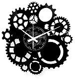 Instant Karma Clocks Orologio Parete Gothic Steampunk Ingranaggi, Arredamento, Nero Vinile, 30cm