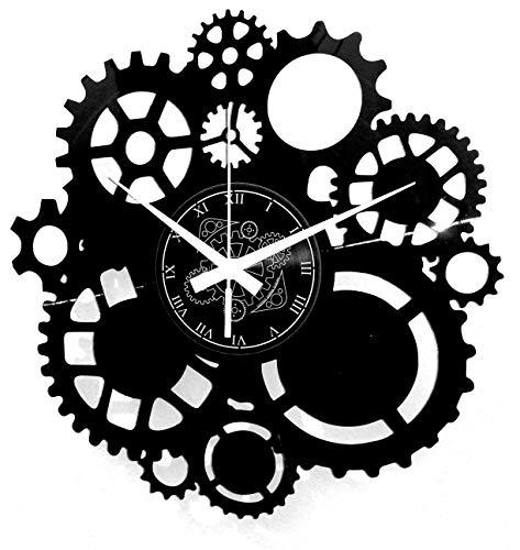 Instant Karma Clocks - Reloj de Pared de Vinilo, Disco LP 33 RPM, Idea Regalo Vintage, Hecho a Mano, instantáneo, Karma-Gothic Steampunk, Engranajes, silencioso