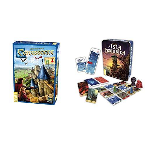 Devir 222593 Carcassonne, Juego de Mesa (versión en Castellano) + La Isla Prohibida Juego de Mesa, Multicolor (Bgisla)