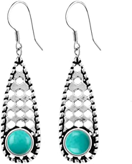 Natural Turquoise Sterling Silver Vintage Filigree Dangle Earrings for Women