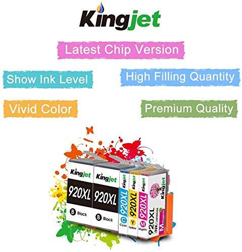 Kingjet Compatible 920XL Cartuchos Reemplazo HP 920 XL 920 Cartuchos de Tinta para con HP Officejet 6500A 6500 HP 7500A, HP 7500, HP 6000, HP 7000 HP E910 (2 Negro,1 Cian,1 Magenta,1 Amarillo)
