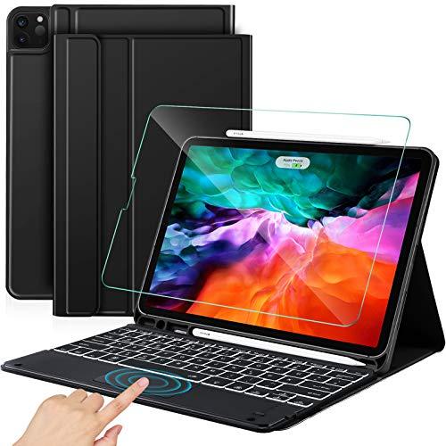 Sross-TEC Tastatur für iPad Pro 12.9, iPad Pro 12.9 2020/2018 Tastatur Hülle, Kabellose Bluetooth QWERTZ iPad pro 12.9 Zoll 4.Generation/3rd Gen. Tastatur mit Touchpad+Panzerglas, Schwarz