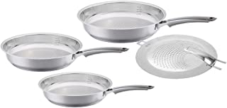 Fissler crispy steelux premium / Fry-Pan Set with splatter screen, (8-Inches, 10-Inches, 12-Inches), Stainless Steel Cookware, Compatible-Stovetops: Induction, Gas, Electric, Oven & Dishwasher-Safe