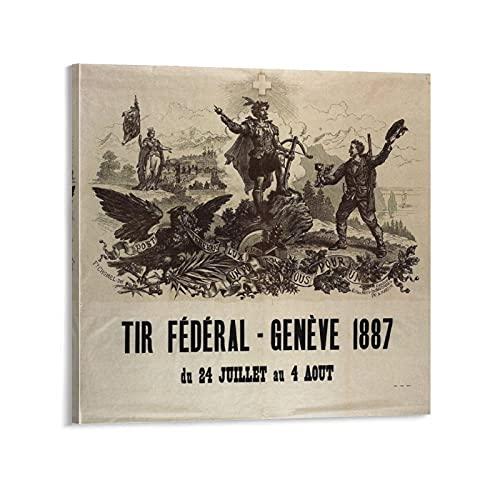 SHUUG Tir Federal Geneve - Póster vintage con diseño de ginebra federal y cuadro de pared para decoración de dormitorio familiar de 40 x 40 cm