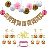 Baptism Decorations for Girl,Pink Christening party supplies,First Communion Decor - God Bless Burlap Banner With Baptism Cupcake Toppers,Pink Church Event Favor