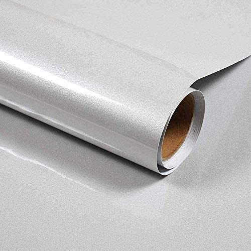 Self Adhesive Wallpaper White Glossy/Glitter 40cm × 3m Sticky Back Plastic Paper Peel and Stick Wallpaper Upgrade Vinyl Film Roll Covering Countertops Kitchen Wardrobe Removable Furniture Sticker