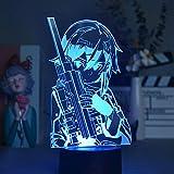 Lámpara De Ilusión 3D Luz De Noche Led Anime Sword Art Online Doll Creative Habitación Para Niños Mesita De Noche Decoración Niños Novio Regalo De Cumpleaños