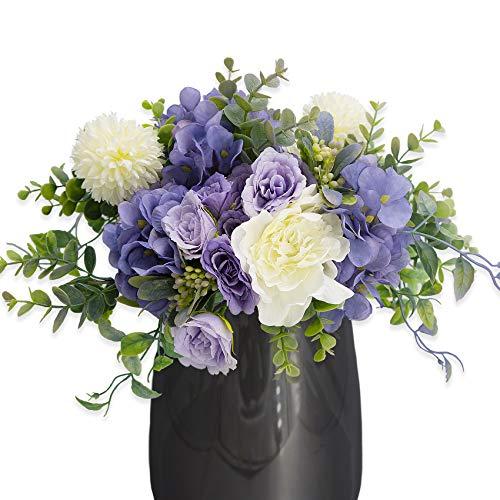 Huryfox 4 Unidades de Flores Artificiales, 24 Piezas de Flores Falsas para decoración del hogar, Planta Falsa para Escritorio y...