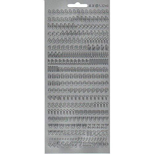 Lote de 6 pegatinas de contorno del alfabeto minúsculo y números plateados, láminas de 10 x 23 cm, pegatinas para Scrap