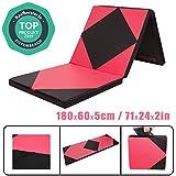CCLIFE 180x60x5 Klappbare Weichbodenmatte Turnmatte Fitnessmatte Gymnastikmatte rutschfeste Sportmatte Spielmatte, Farbe:3 Elemente, Rot&Schwarz Raute